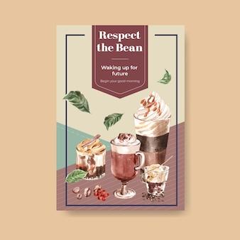 Modelo de pôster com conceito de estilo de café coreano para propaganda e marketing de aquarela