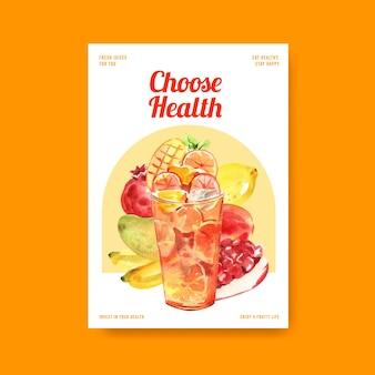 Modelo de pôster com conceito de vitaminas de frutas