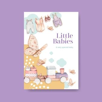 Modelo de pôster com conceito olá bebê