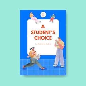 Modelo de pôster com design de conceito de aprendizagem on-line para propaganda e brochura ilustração em aquarela Vetor grátis