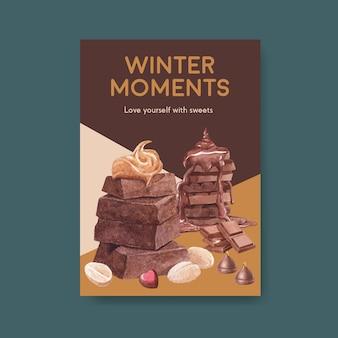 Modelo de pôster com design de conceito de inverno chocolate para brochura e anúncio de ilustração vetorial aquarela