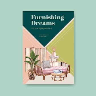 Modelo de pôster com design de conceito de móveis jassa para brochura e ilustração vetorial aquarela de anúncios