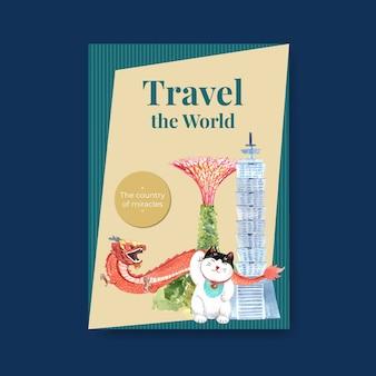 Modelo de pôster com design de conceito de viagens na ásia para brochura e ilustração vetorial de aquarela de marketing