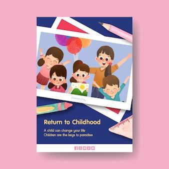 Modelo de pôster com design de conceito do dia das crianças