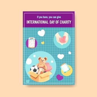 Modelo de pôster com design de conceito do dia internacional da caridade