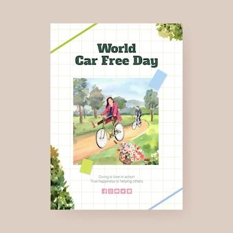 Modelo de pôster com design de conceito do dia mundial sem carro