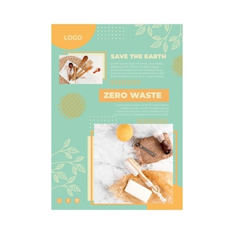 Modelo de pôster com desperdício zero de meio ambiente
