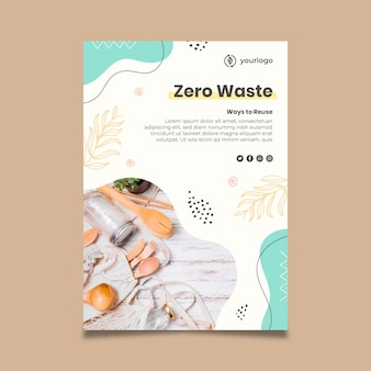 Modelo de pôster com desperdício zero