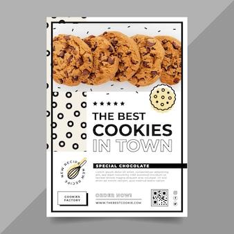 Modelo de pôster com foto de biscoitos