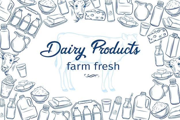 Modelo de pôster com produtos lácteos desenhados à mão para o menu do mercado de fazendeiros