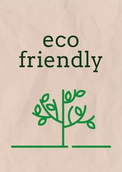 Modelo de pôster com texto ecológico em tons de terra