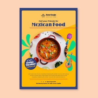 Modelo de pôster com vista superior de comida mexicana deliciosa