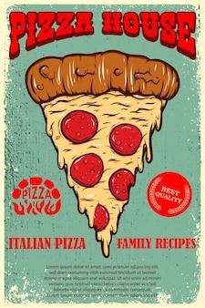 Modelo de pôster da pizzaria. fatia de pizza italiana em fundo grunge. elemento de design de logotipo, etiqueta, sinal, cartaz, cartão, banner. ilustração vetorial