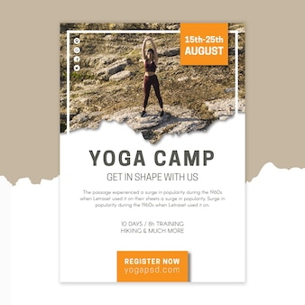 Modelo de pôster de acampamento de ioga