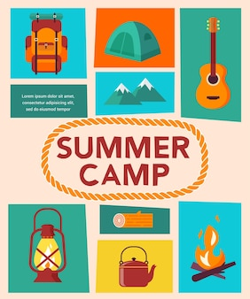 Modelo de pôster de acampamento de verão