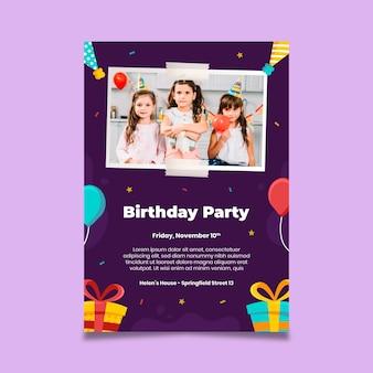 Modelo de pôster de aniversário festa infantil