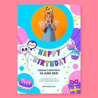 Modelo de pôster de aniversário infantil