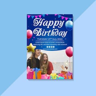 Modelo de pôster de aniversário