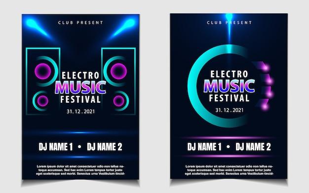 Modelo de pôster de capa para festival de música eletrônica