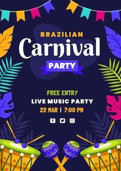 Modelo de pôster de carnaval brasileiro em design plano