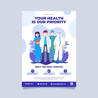 Modelo de pôster de clínica de saúde