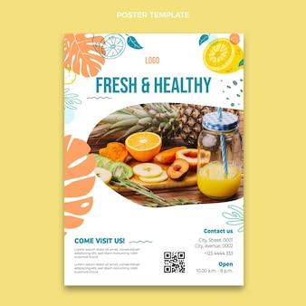 Modelo de pôster de comida de design plano