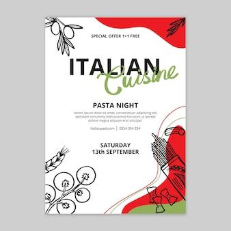 Modelo de pôster de comida italiana