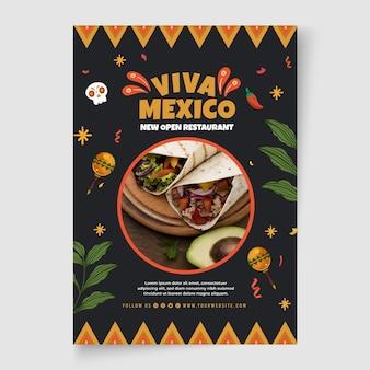 Modelo de pôster de comida mexicana com foto