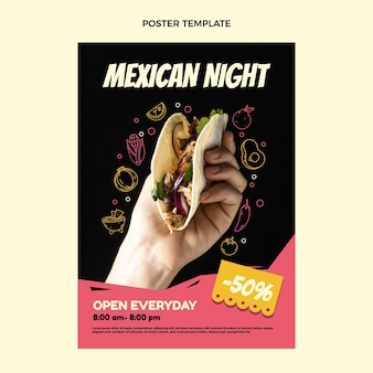 Modelo de pôster de comida mexicana de design plano