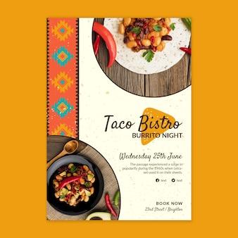 Modelo de pôster de comida mexicana deliciosa