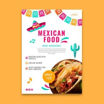 Modelo de pôster de comida mexicana saborosa