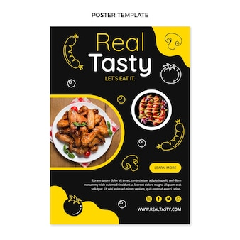 Modelo de pôster de comida saborosa de design plano