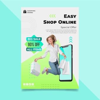 Modelo de pôster de compras online