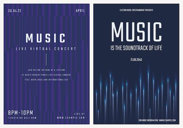 Modelo de pôster de concerto de música com gráficos de ondas sonoras para conjunto de anúncios