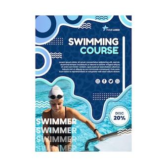 Modelo de pôster de curso de natação