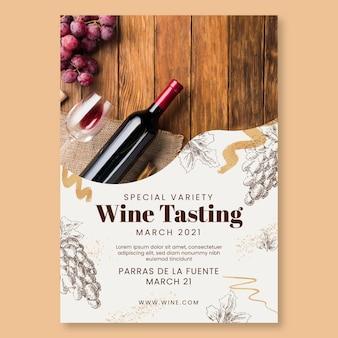 Modelo de pôster de degustação de vinhos