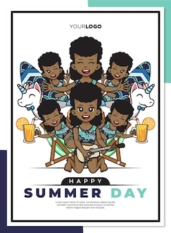 Modelo de pôster de dia de verão feliz com personagem de desenho animado bonito de uma garota negra na praia