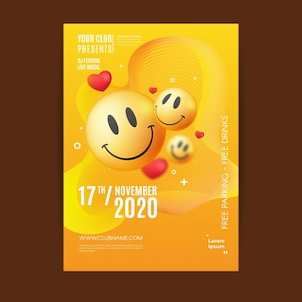 Modelo de pôster de emoji ácido realista