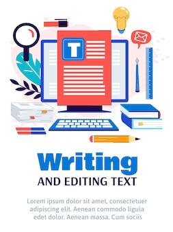 Modelo de pôster de escrita de conteúdo criativo e edição de texto.