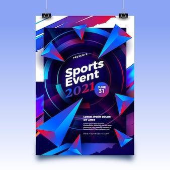 Modelo de pôster de evento esportivo de 2021 com formas abstratas