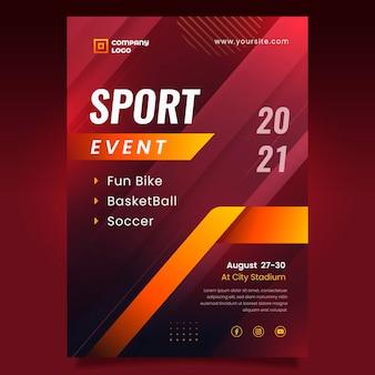 Modelo de pôster de evento esportivo gradiente