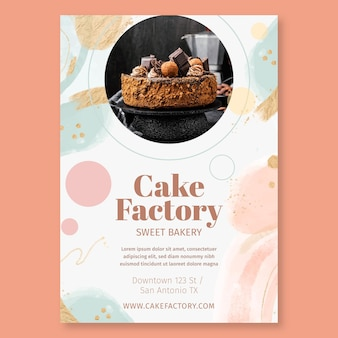 Modelo de pôster de fábrica de bolos