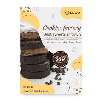 Modelo de pôster de fábrica de cookies