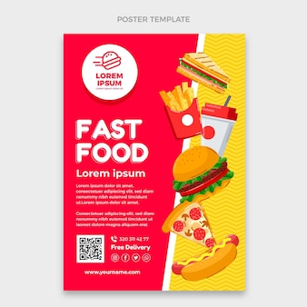 Modelo de pôster de fast food de design plano