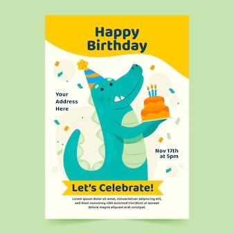 Modelo de pôster de feliz aniversário com dinossauro