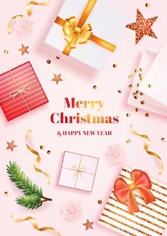 Modelo de pôster de feliz natal e feliz ano novo