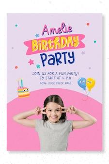 Modelo de pôster de festa de aniversário infantil