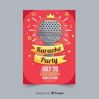 Modelo de pôster de festa de karaoke desenhada de mão