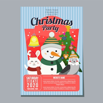 Modelo de pôster de festa de natal boneco de neve coelho coruja Vetor Premium