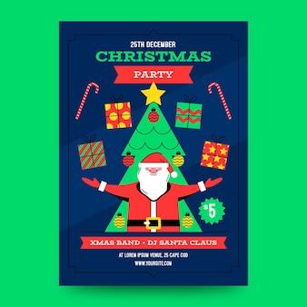 Modelo de pôster de festa de natal de design plano